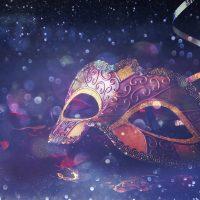 Image of elegant venetian, mardi gras mask on glitter background
